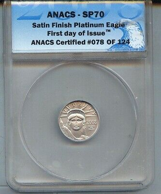 2008-W Platinum  $10 American Eagle Gem Unc - Anacs Sp70 First Day Of Issue