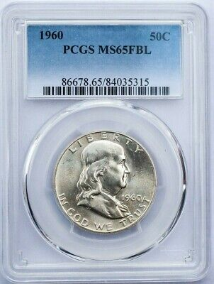 1960 50c Franklin Half Dollar PCGS MS 65 FBL Full Bell lines Uncirculated