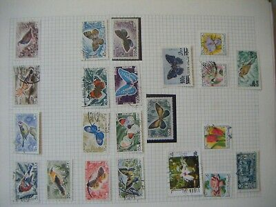 Lebanon thematic stamps birds & butterflies on album page - mixed condition