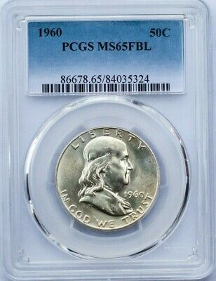 1960 50c Franklin Half Dollar PCGS MS 65 FBL Full Bell Lines