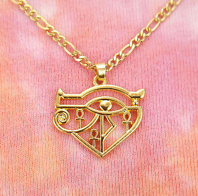 Eye of Ra w/ Ankh Necklace Egypt Egyptian Wadjet Sekhmet Mut Hathor Gold Pendant