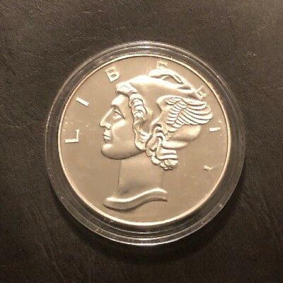 2 Troy Oz .999 silver Mercury Dime winged liberty coin art Round