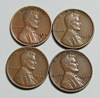 1937-D, 1938, 1938-S & 1939-D - 1 Cent - Lincoln Wheat Cent