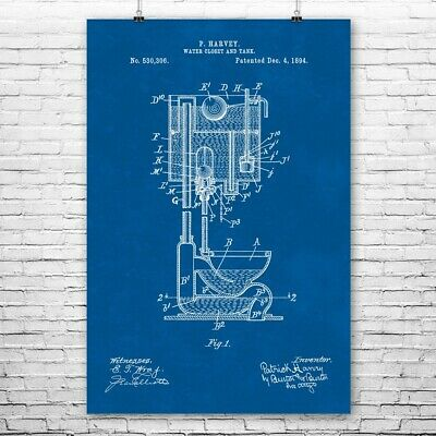 Pull Chain Toilet Poster Print High Tank Toilet Water Closet Plumber Gift