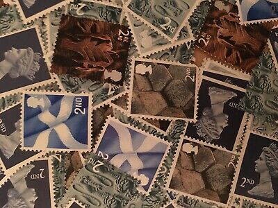 100 x UNFRANKED 2nd/SECOND CLASS STAMPS OFF PAPER (NO GUM) FACE VALUE £58