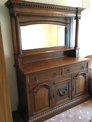 Eclectic, large original oak Victoria sideboard, v good condition, mirror backed