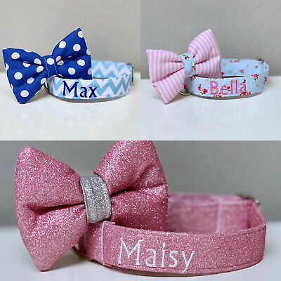 Personalised Dog Puppy Pet Collar Uk Made Embroidered Custom Name Xs S M L Xl