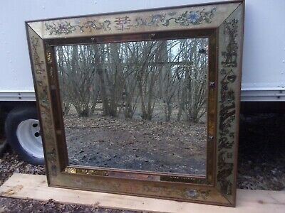 5 Ft Asian Mirror With Reverse Painted Flower Glass Border - From Mansion