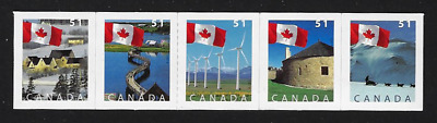 Canada Stamps — Strip of 5  — Flag Issues #2135@#2139 — MNH