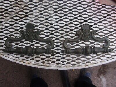 2 Large Ornate Solid Brass Victorian Drawer Pulls