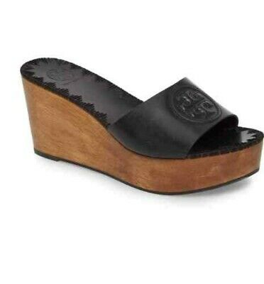 ea6f29903bd2 TORY BURCH PATTY Wedge Slide 36Mm Leather Size 7 Perfect Cuoio Brown ...