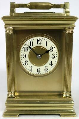 Miniature Antique French 8 Day Carriage Clock Masked Dial Timepiece Clock C1890