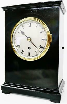 Antique English Military Bracket Clock Officer Fusee 8 Day Ebony Mantel Clock