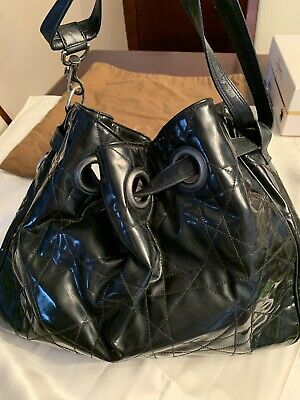 57bc673b12 Auth Christian Dior Lady Dior Cannage Shoulder Bag Black Patent Leather  B31883