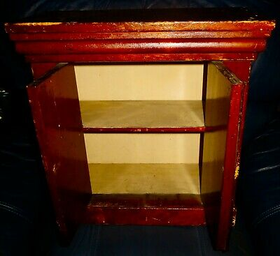 Vintage Wooden 2 Shelf Cupboard 18 Inches Tall 2 Door Front Opening**TOO CUTE**