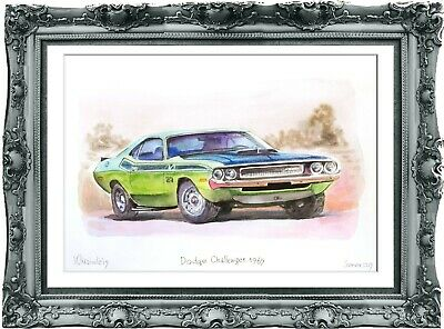 original drawing car Dodge Challenger 1969 140UV art watercolor A3