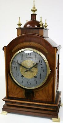 Beautiful Antique French 8 Day Striking Mantel Clock Inlaid Walnut Bracket Clock