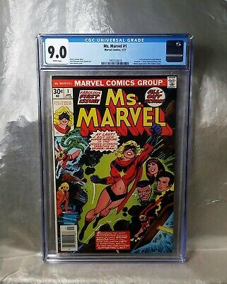Ms Marvel 1 Cgc 9.0 (Looks Better) White Pages. Marvel 1977.