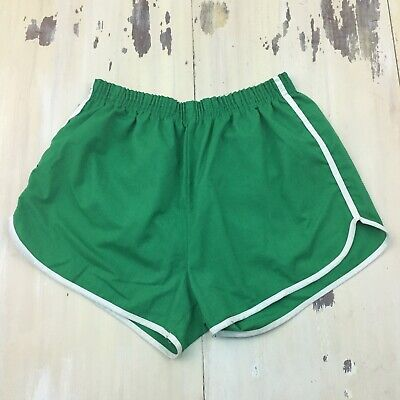 VINTAGE SHORTS - 70s-80s Green High Waist Short Length Gym Dad Running, LARGE