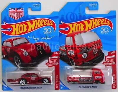 2018 Hot Wheels LOT OF 2 Target Red Edition Volkswagen Kafer Racer & T2 Pickup