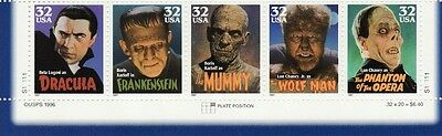 HOLLYWOOD CLASSIC US Scott 3168-3172 MOVIE MONSTERS 32c MVF PLATE BLOCK 5 STAMPS