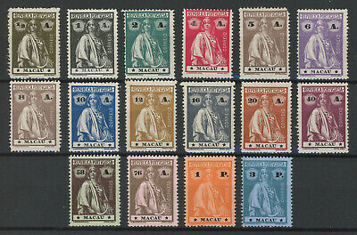 Macau 1913 Ceres issue on chalky paper, complete set of 16 MH * with orig. gum