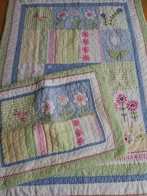 POTTERY BARN KIDS ~ Crib Toddler Bed QUILT & PILLOW SHAM / FLORAL Flowers Tulips