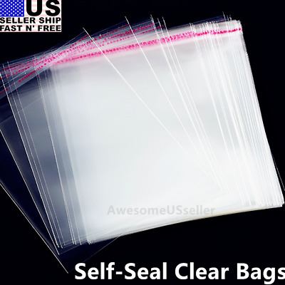 100 1.25 Mil 9x12 Bags Resealable Clear T-Shirt Clothes Plastic Opp Cello Dress
