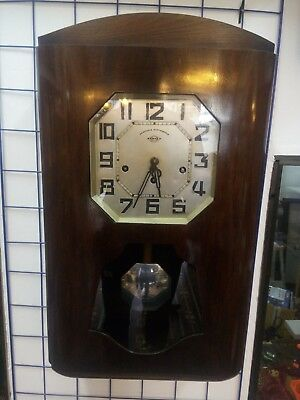 Antique French Westminster Chime Wall Clock Walnut Wooden Mechanical Working