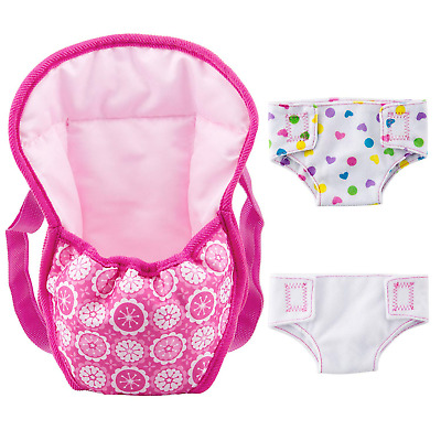 """ZOEON Baby Doll Carrier Backpack and Nappies, Doll Accessories Set for 18"""" Dolls"""