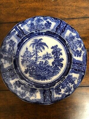 Flow Blue Plate Adams China England Kyber Tree Scene Antique