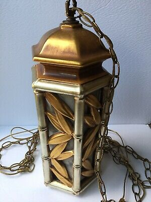 Vintage Hanging Light Swag Lamp Gold Brass Ornate Metal Retro 70s