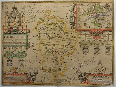 Antique Map of Bedfordshire by John Speed 1627