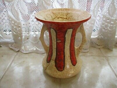 Vintage Art Deco Style Vase Twin Handled Red and Brown