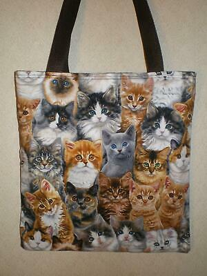 6d446c082e Cat Cats Tote Bag Fluffy Calico Tabby Ginger Grey Siamese Limited Handmade  Purse