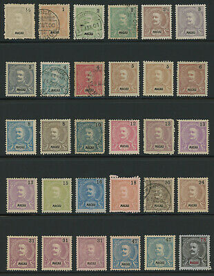 Macau 1898-1903 King Carlos definitives extensive lot of 30 mint and used stamps