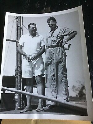 Ernest Hemingway Press Photo 1954 Yachting W/ Fred Gibbons In 1936 Feared Dead