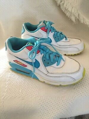 sneakers for cheap 0297f 449eb Youth Nike Air Max 90 Running Shoes White Pink Blue 345017-123 Size 6.5 Y