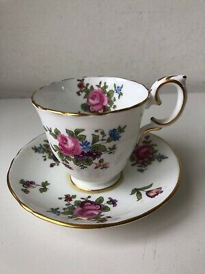 vintage floral bone china tea/coffee cup and saucer ornament/candle holder
