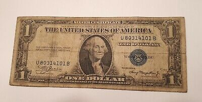 1935 A $1 US Dollar Bill Silver Certificate Blue Seal Note-Serial # U 80314101 B