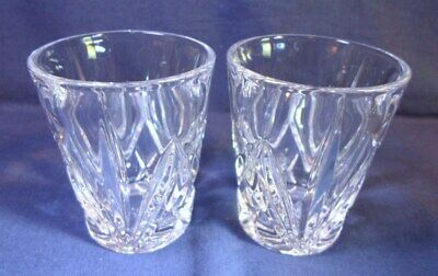 """Pair MARQUIS by WATERFORD SHOT GLASSES BROOKSIDE Pattern Fine Cut Crystal 2-3/8"""""""