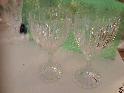 "Mikasa Park Lane Crystal Wine Goblets 6 3/8"" Set of 2! Excellent Condition!"