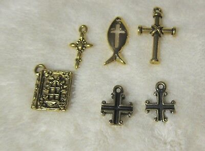 NOS Destash BEADS FINDINGS ETC  6 Asst. CHRISTIAN THEME PENDANTS  -YELLOW metal