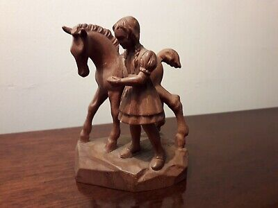 Vintage Hand Carved Figure Of A Young Girl With A Foal.