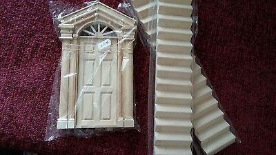 Georgian style front door plus two staircases for 1:12 scale doll house