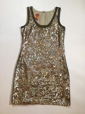 cc012bf57fc1 Tory Burch Womens Size 4 Sleeveless 100% Silk Sequined Evening Dress In Gold