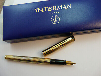 Vintage Waterman Maestro Gold Plated Fountain Pen In Waterman Box
