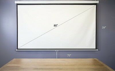 """VIVO 80"""" Projector Screen, 80 inch Diagonal 16:9 Projection HD Manual Pull Down"""