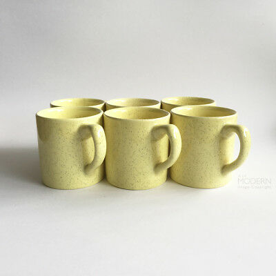 Set of 6 Vintage Bauer Pottery Yellow Speckled No. 46 Small 8oz Mugs California