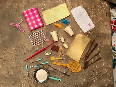 Vintage barbie doll kitchen and accessories items